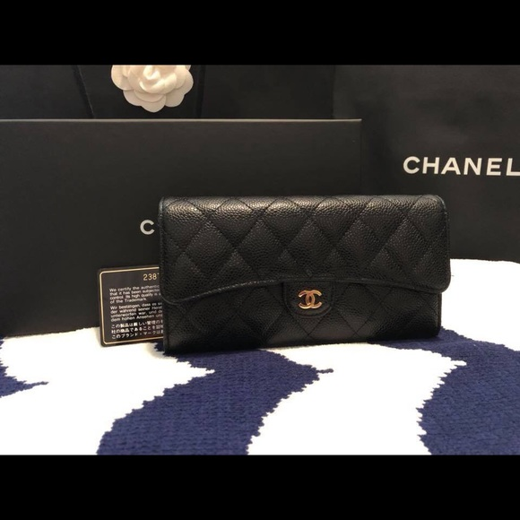 0565187e4e6a CHANEL Handbags - Chanel Classic flap long black caviar wallet